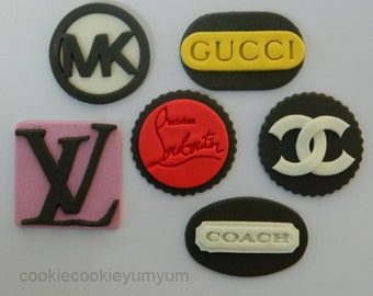 12 edible DESIGNER LOGO FASHION brand logo inspired brand cupcake cake topper decoration wedding birthday engagement cookie bag dress shoes