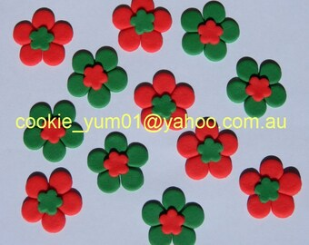 30 edible CHRISTMAS BLOSSOM FLOWERS cake cupcake decoration novelty topper cute gift xmas party birthday holiday cookie