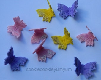 12 edible GLITTER BUTTERFLIES butterfly cute icing cake decorations cupcake topper decoration party wedding anniversary birthday engagement