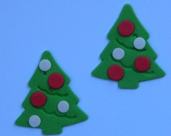 12 edible CHRISTMAS TREES with BAUBLES cake cupcake decoration novelty topper cute gift xmas party birthday holiday cookie