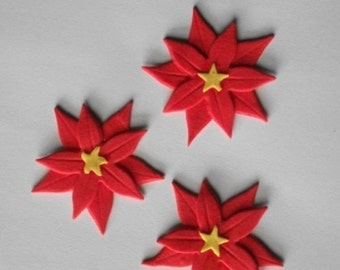 12 edible CHRISTMAS POINSETTIA FLOWERS large cake cupcake decoration novelty topper cute gift xmas party birthday holiday cookie