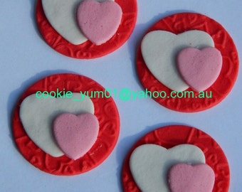 12 edible TEXTURED double LOVE HEARTS embossed cake cupcake wedding topper decoration wedding anniversary birthday engagement valentine