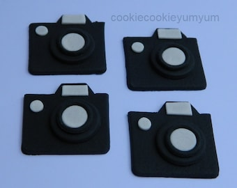 12 edible CAMERA WITH ZOOM cake toppers decoration photo hollywood action gumpaste sugarcraft birthday wedding anniversary engagement cookie