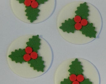 12 edible CHRISTMAS HOLLY DISCS cake cupcake decoration novelty topper cute gift xmas party birthday holiday cookie