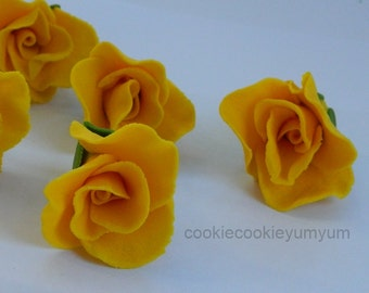 12 edible 3d ROSE BUDS flowers cake decorations cupcake wedding topper decoration party wedding anniversary birthday engagement valentine