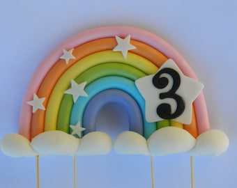 3D edible pastel RAINBOW AGE STARS personalised wedding topper decoration wedding anniversary birthday engagement