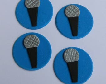 12 edible MUSIC MICROPHONES cake cupcake wedding topper decoration wedding anniversary birthday engagement
