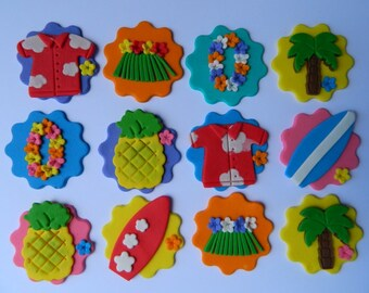 12 edible HAWAIIAN cake CUPCAKE topper decoration PALM surf lei pineapple skirt disc wedding party wedding birthday engagement hawaii