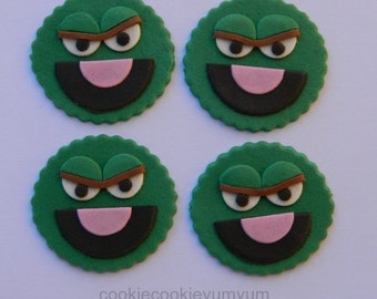12 edible SESAME STREET OSCAR the grouch cupcake cake topper decorations baby shower wedding anniversary birthday engagement