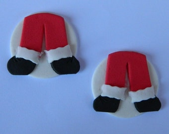 12 edible CHRISTMAS SANTA LEG discs cake cupcake decoration novelty topper cute gift xmas party birthday holiday cookie