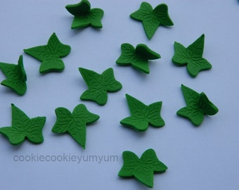 50 edible  IVY LEAVES LEAF harvest trees season winter cake cupcake toppers decorations party wedding anniversary birthday