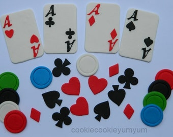 28 edible PLAYING CARDS POKER chips magic hearts clubs diamonds spades las vegas cake cupcake topper decoration wedding engagement birthday