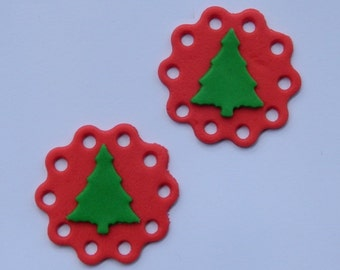 12 edible CHRISTMAS LACE TREES discs cake cupcake decoration novelty topper cute gift xmas party birthday holiday cookie