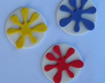 12 edible PAINT SPLASHES cupcake topper decoration art artist painter icing decorations wedding birthday
