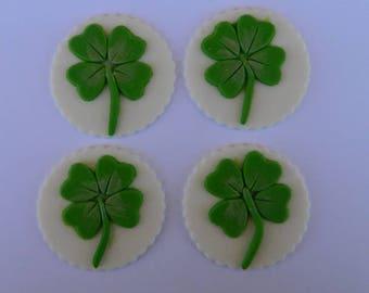 12 edible LUCKY 4 LEAF CLOVER  cupcake irish shamrock cake topper decorations wedding anniversary birthday