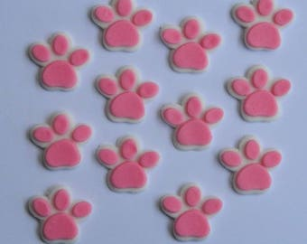 12 edible PAW PRINTS paw patrol themed new puppy dog kitten cupcake icing topper cookie cake topper decoration birthday skye