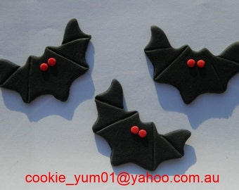 12 edible BATS halloween FRIDAY 13TH Lucky scary cake cupcake toppers decorations party wedding anniversary birthday beautiful christening