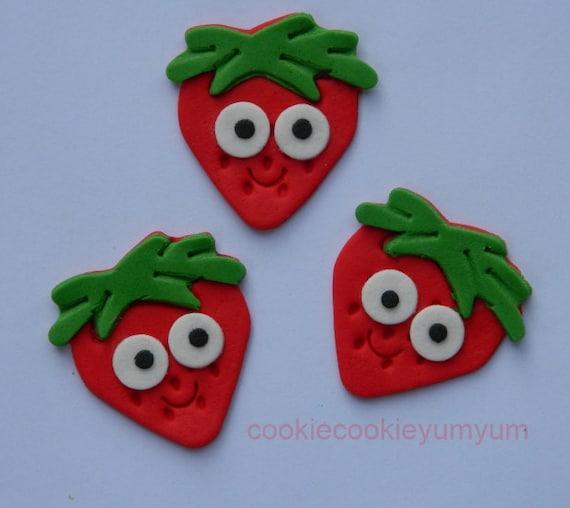 12 eetbare aardbei met ogen shortcake taart decoratie for Decoratie cupcakes