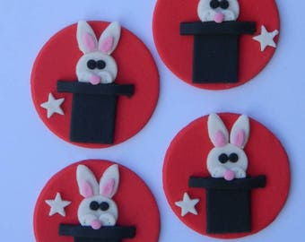 12 edible MAGIC HATS with RABBITS las vegas cake cupcake wedding topper decoration wedding birthday engagement
