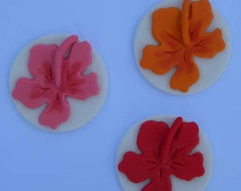 12 edible TROPICAL HAWAIIAN flower HIBISCUS disc cake decorations cupcake wedding topper decoration party wedding birthday engagement hawaii