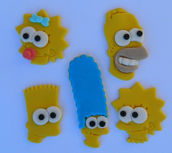 Sensational 10 Edible Simpsons Homer Bart Marge Lisa Maggie Assorted Etsy Personalised Birthday Cards Veneteletsinfo