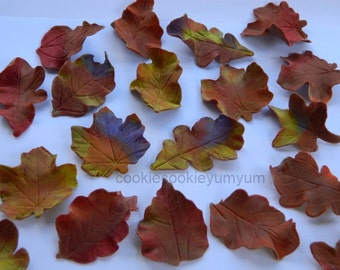 24 edible FALL AUTUMN LEAVES harvest trees season winter cake cupcake toppers decorations party wedding anniversary birthday