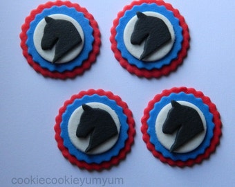 12 edible HORSE HEAD ROSETTE winner show animal cupcake cake topper decorations wedding anniversary birthday