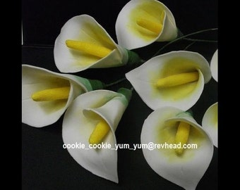 4 edible CALLA arum LILY SUGAR flowers tropical hawaiian cake cupcake toppers decorations party wedding anniversary birthday islands hawaii