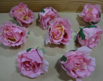 Artificial Flowers. Pink Rose Head. Silk, Lifelike Roses; Head only. 3 inch. Floral Arrangement, Home Decor, Weddings. 48 Pieces