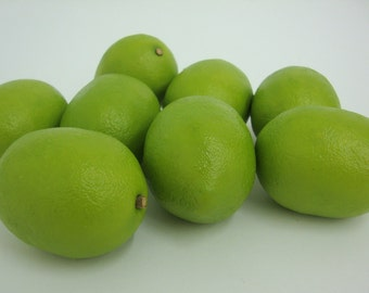 Artificial Fruit. Faux Lime Fruit Kitchen Realistic Food Fake Display Home Decor. Bag of 12 Pieces.