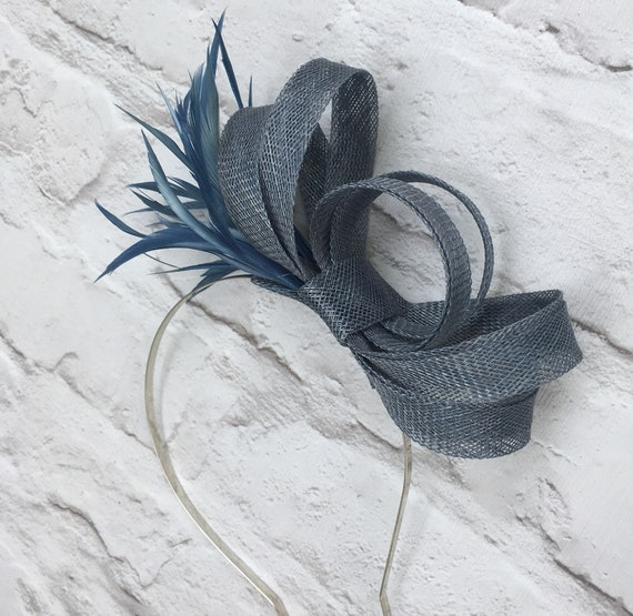 Steel blue grey fascinator wedding headpiece  1ecfd7a79b3