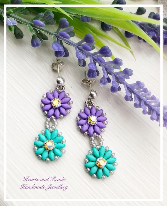 065ab82848 Sterling silver Purple and green crystal swarovski pearl flower dangle  earrings, drop earrings, daisy earrings, floral earrings