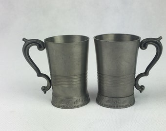 pair miniature jugs, pewter pitcher, miniature stein, miniature Reinzinn, pewter figurine, Home and Living, Home Décor, art and collectable