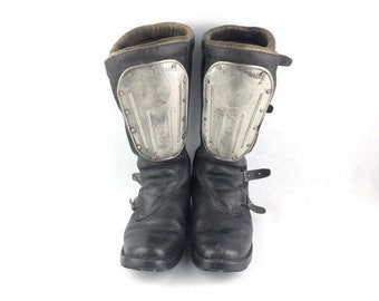 Men S Motorcycle Boots Vintage Etsy Uk