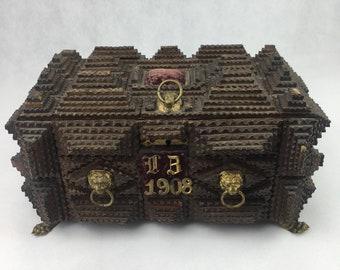 Tramp art box, prison art box, Folk art box, American folk art, black forest art, german tramp art, antique box, Home and Living