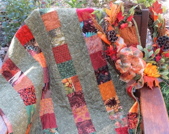 Shades of a Scrappy Fall Quilt Custom One of a Kind
