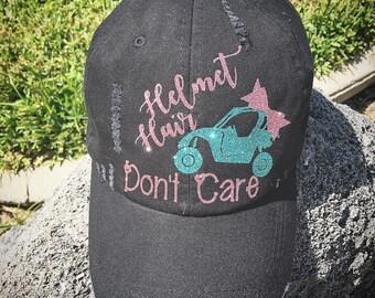 Helmet Hair Don't Care Trucker PONYTAIL Hat women baseball cap motorcross dirt bike desert river buggy riding dirt jeep off road