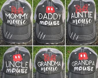 6ac997c11fb56 Disney Mouse Mama Mommy Papa Daddy Mini Mickey Brother Minnie Auntie  Grandma hat women men kid toddler disneyland park cruise world vacation