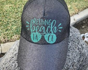 Resting Beach Face Ponytail Baseball Hat Glitter messy bun mesh back women  cap mom vacation gift birthday party bachelorette e65cfd4de2fc