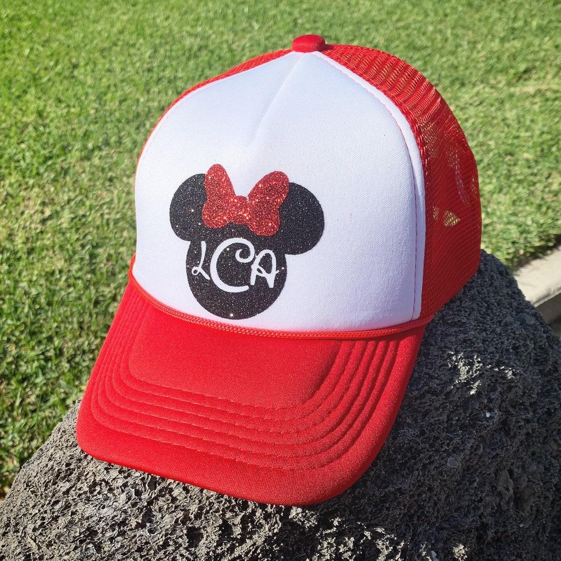 afb2dbc054509 Minnie Mouse monogram Trucker Hat women glitter baseball cap disney mom  disneyland park minnie mickey disney world vacation gift birthday