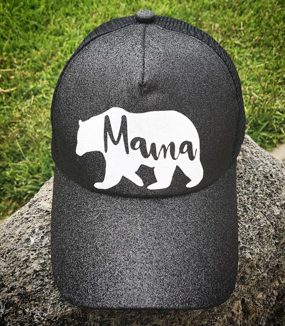 Mama Bear Ponytail Baseball Hat Glitter messy bun mesh back  1e15356368a3