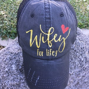 4c1a71d086649 Wifey for Lifey Distressed Trucker Hat women baseball cap bride  bachelorette miss to mrs adjustable fit mesh custom personalized