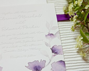 Watercolour Letterpress Wedding Invitation invite Custom bespoke purple lilac watercolor Floral invite - Midsummer - The Whistle Press