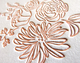 Letterpress Wedding Invitations invites Bespoke custom stationery set suite modern floral coral - Whimsical Wonder - The Whistle Press