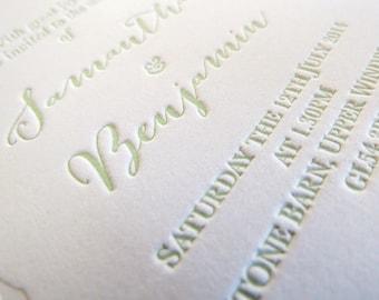 Letterpress Wedding Invitation rustic invite stationery Bespoke Custom modern mint green wreath - Gingko - The Whistle Press