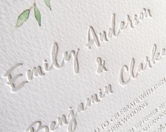 Watercolour Letterpress wedding invitation invite Stationery set suite floral painted watercolor pretty feminine rose orange- A Summer's Day