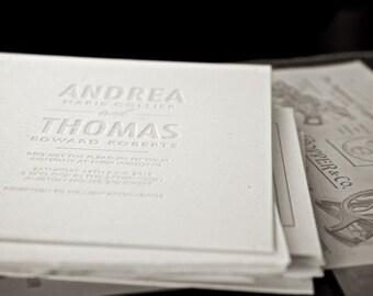 Letterpress Wedding Invitation invite Modern Bespoke typographic black and white stationery suite - BOLD SOPHISTICATION - The Whistle Press