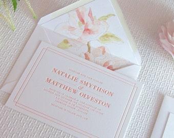 Letterpress Wedding Invitation invite suite stationery bespoke custom luxury floral envelope liners coral - Modest Spirit -The Whistle Press