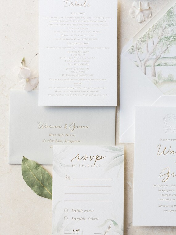 Letterpress Wedding Invitations Stationery Suite Bespoke Custom Gold Foil Elegant Example