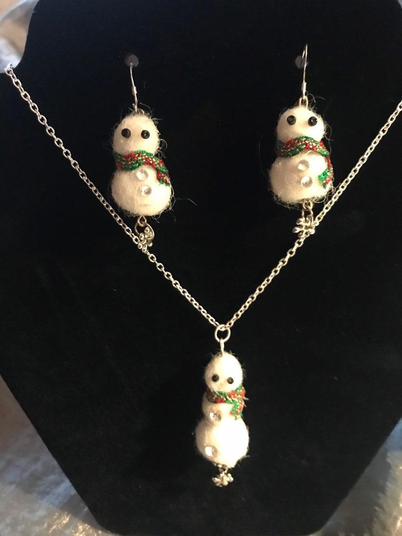 Alpaca Fiber Snowmen Earrings and Necklace